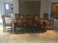 Dining Table Seats 14 & 10 Chairs Victorian Oak Seats