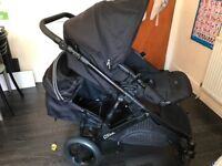 britax b dual double pushchairs (free raincover and footmuff)