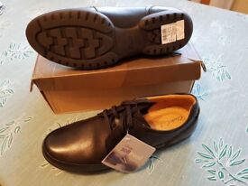 Mens Black Leather Shoes size 10G Recline Derby by Clarks