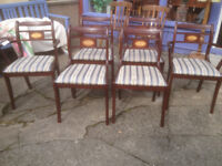 Very Nice Set of 6 Vintage Retro ESA McIntosh Solid Mahogany Re-upholstered Regency Dining Chairs