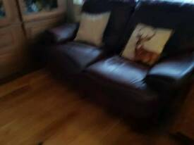3and 2 seater leather double reclining sofas