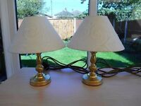Small brass table/bedside lamps with shades