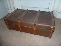 Steamer trunk, banded wood.