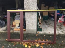 Mahogany wood grain pvc window