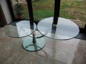 Glass two tier coffee/display table