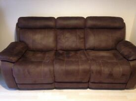 3 seater manual double recliner sofa, chocolate brown