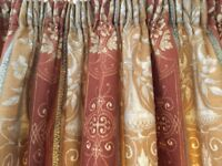 Pair of lined patterned curtains