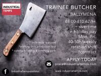 Trainee Butcher £8.00-£10.62/hr 40-50h/weekly
