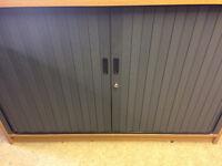 Tool Cabinet with roller door, light oak