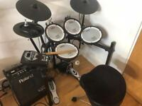 Roland TD11 V Drums Electronic Drumkit with PM10 monitor, bass pedal, throne and sticks