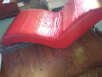 FLIPPED FURNITURE,poppy red,chaise longue,upcycled, renovated