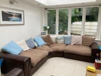 Curved corner sofa and single seat