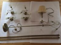 Antique gold lighting set with curtain pole