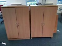 2 x solid wooden cupboards