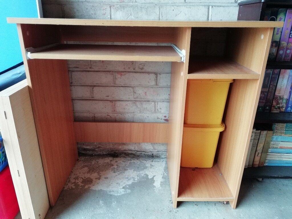 Computer Desk Basic With Sliding Shelf And Side Storage Beech Coloured
