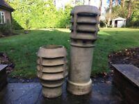 Pair Antique Weathered Chimney Pots / Garden planters