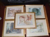 5 William Russell Flint framed prints.