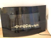 Real flame Electric Fire, Lovely large real flame electric fire with pebbles, option of just flames