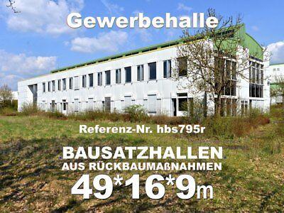 Einmalige Stahlhalle L49m B16m Ausstellungs-/ Lager-/ Verkaufshalle aus Abbruch