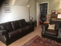 John Lewis leather sofa and armchair