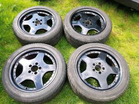"""18"""" 5X112 MERCEDES BENZ MONOBLOCK AMG STYLE ALLOY WHEELS VW AUDI GOLF MK5 A3 A4 A5 SPORT BLACK"""