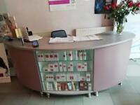 Reception desk with built in display unit