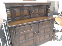 Wooden sideboard with cupboards and drawers
