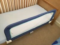 Folding blue child/ toddler bed rail protection guard