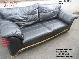 3 piece suite 3+1+1 in black leather vgc in n wales
