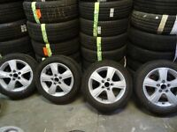 "set of 16"" newly refurbished transit connect alloys with 4 brand new 205 55 16 tyres all round £200"