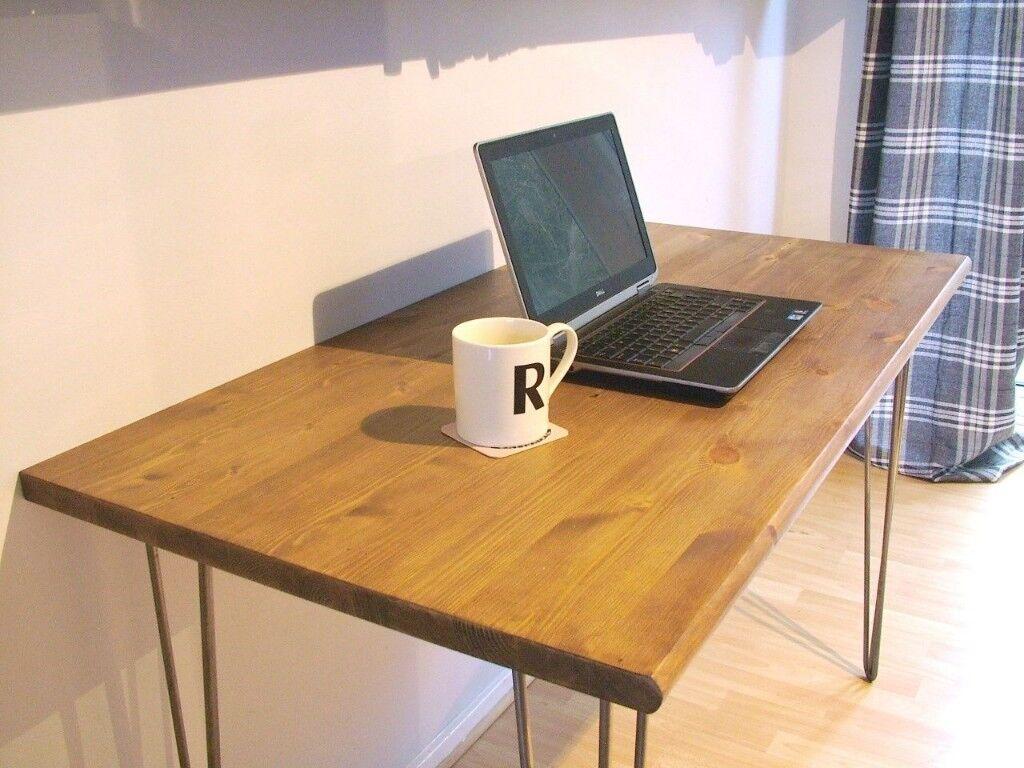 Bespoke Handmade Hipster Wooden Hairpin Legs Um Waxed Table Desk 120 X 60cm