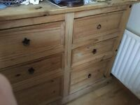 Large Mexican pine set of drawers double