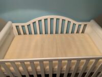 White sleigh cot and chest of drawers