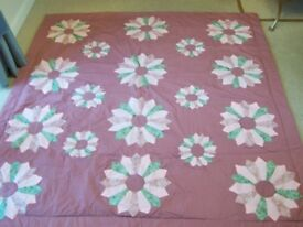 Handmade Cotton Throwover Quilted Double Bed Cover.