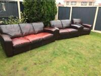 Dfs Caesar sofas and armchair distressed aged leather solid heavy quality set