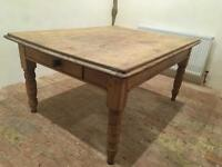 Large and very solid Victorian Pitch Pine Kitchen/ dining Table with Stunning Patina