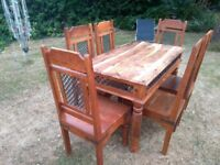 Jali Sheesham Mango wood Ironwork Table And Six High back Chairs Peterborough