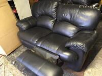 Leather recliner settees