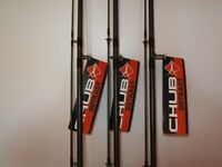 New Carp Fishing Tackle 3 X CHUB OUTCAST Carp Rods 11ft 2.25TC New in Bags Never Used !