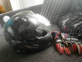 Motorbike helmet (medium)and gloves