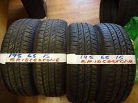 matching set of 195 65 15 BRIDGESTONES 6mm tread £80 FOR SET SUPP AND FITTD opn 7 days 6pm