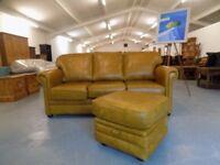 Thomas Lloyd Oxford Honey Mustard Leather 3 Seater Sofa + Footstool