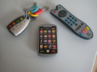 BABY/ TODDLER ELC TOY, PLAY PHONE, T.V CONTROLLER, AND CAR KEYS SET