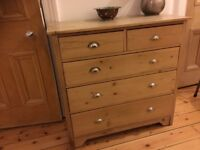 Vintage antique pine chest drawers waxed