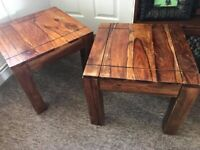 """A Pair of Sheesham Solid Wood Side Tables, 18"""" square 15"""" height"""