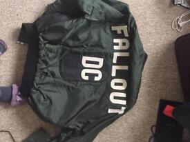 Mans large leather and other material bomber jacket no rips or marks very good condition p&p £10