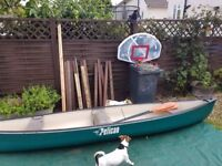 Pelican 15.5 ft canoe with paddles cool etc
