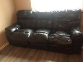 3 piece recliner sofa set full leather