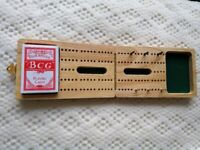 Folding Pine Wooden Cribbage Board - c/w Pack Cards