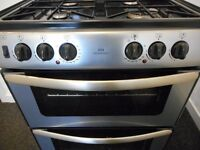 NEWWORLD DUAL FUEL DOUBLE OVEN GAS COOKER**STEEL/BLACK**